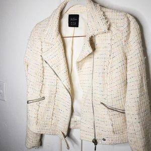 ZARA TRF Tweed Woven Moto Jacket in Cream